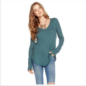 Chaser Thermal Waffle Top Winter Pine Shirt Sz SM